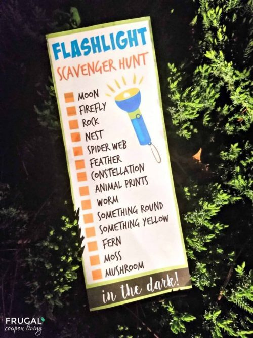 Things to do while camping at night flashlight scavenger hunt