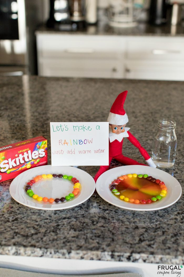 Elf on the Shelf Toddler Ideas | Skittles Rainbow Experiment
