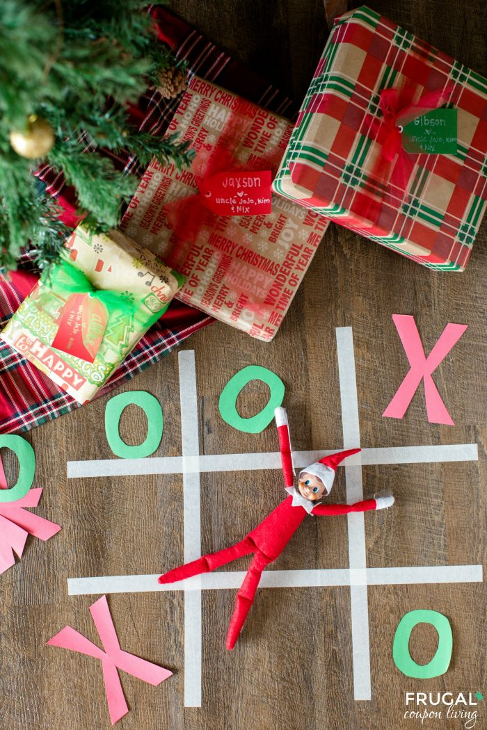 Elf on the Shelf Ideas with Games Tic Tac Toe Board