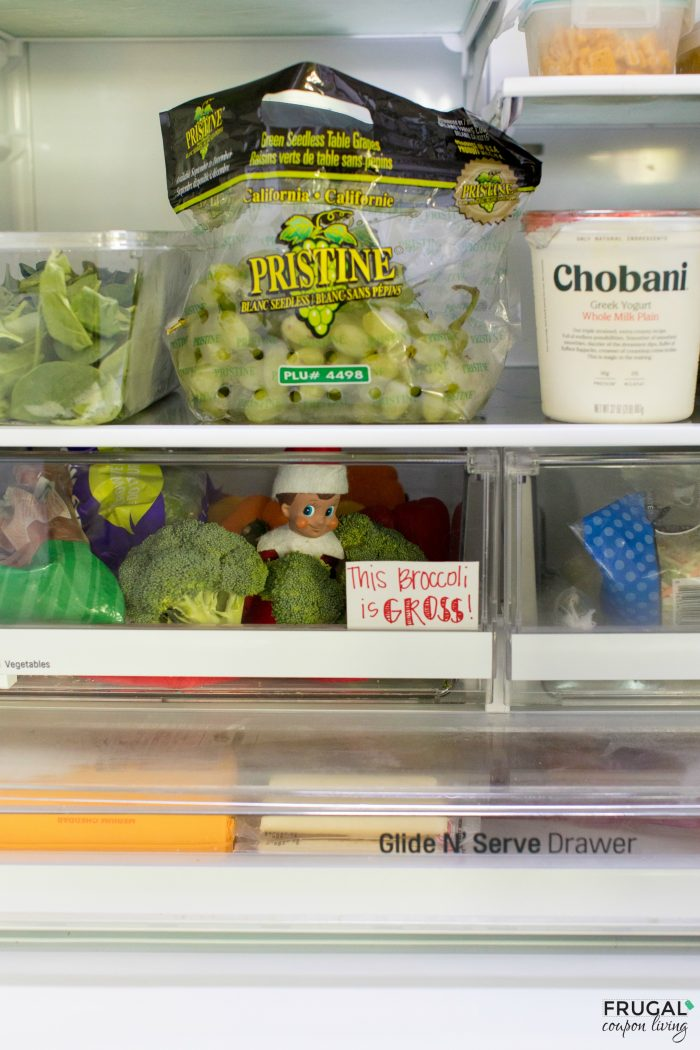 Elf on the Shelf Idea in the refrigerator with broccoli