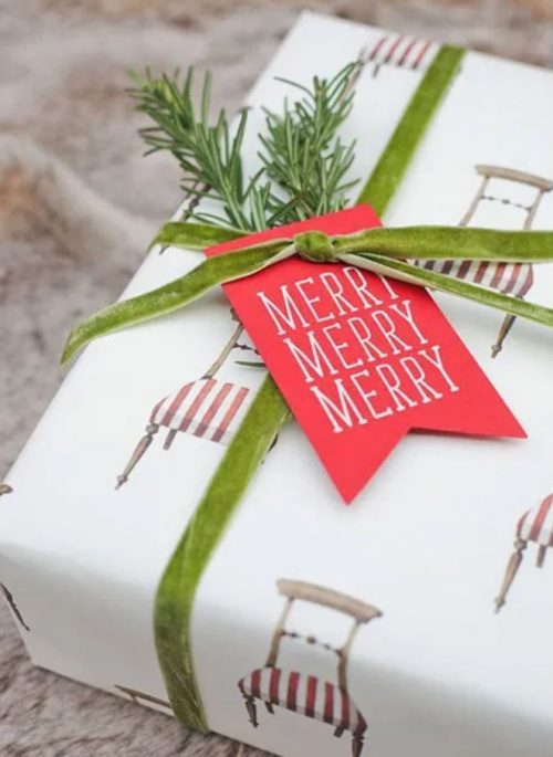 Christmas Gift Wrap with Rosemary Twig and Velvet Ribbon