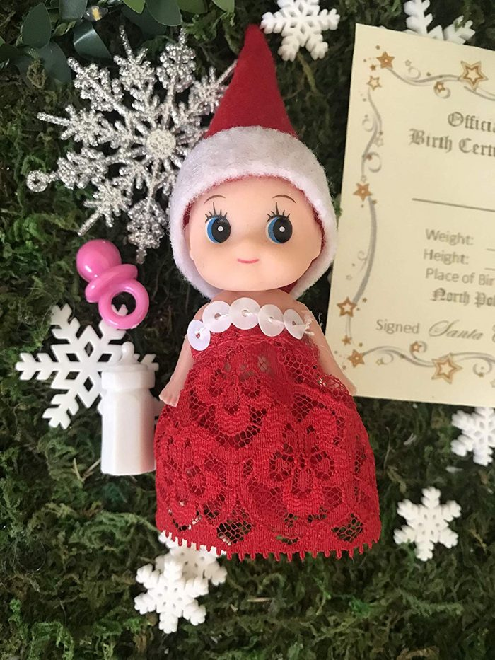 Girl Elf Baby in Red Lace plus Elf on the Shelf Printable
