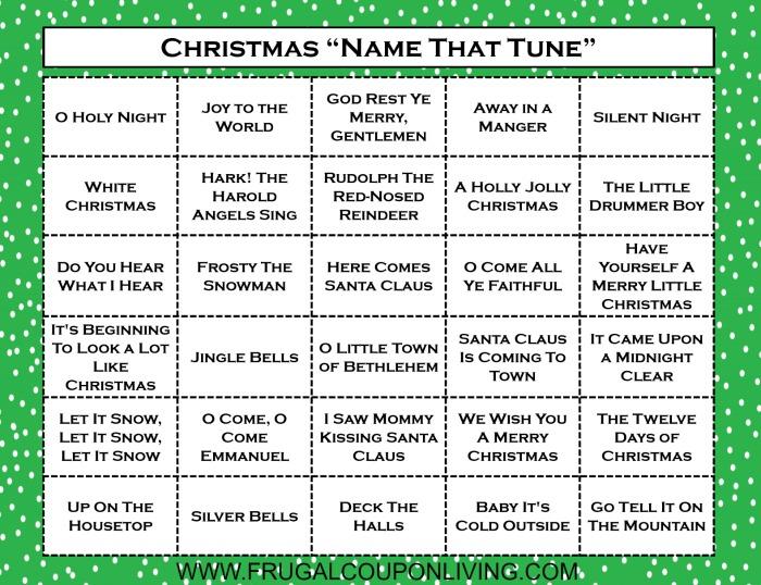 Christmas Name that Tune Game Printable