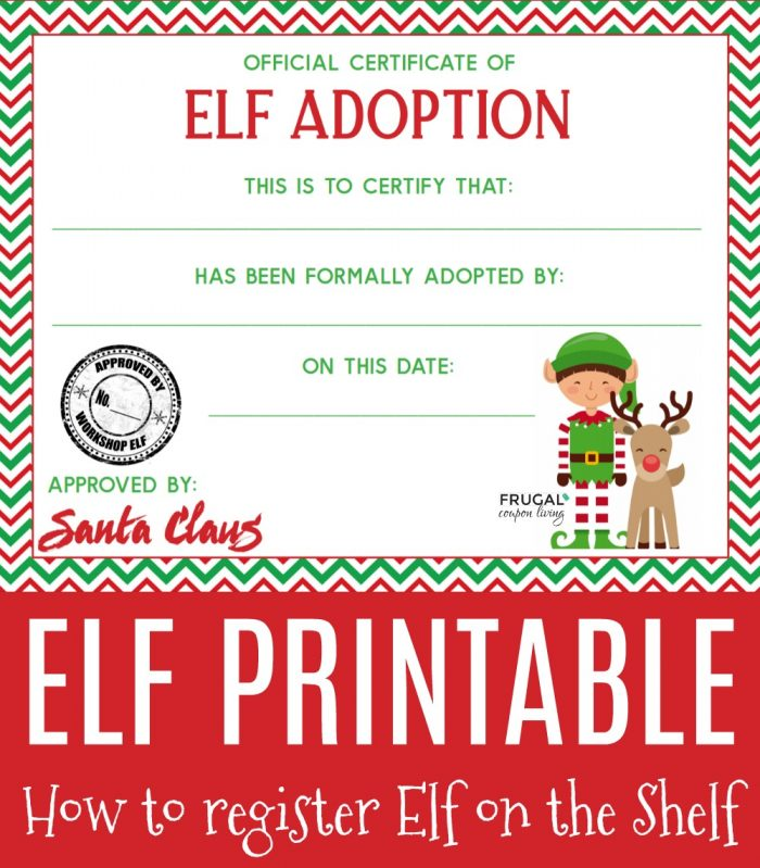 Printable Adoption Certificate for Elf