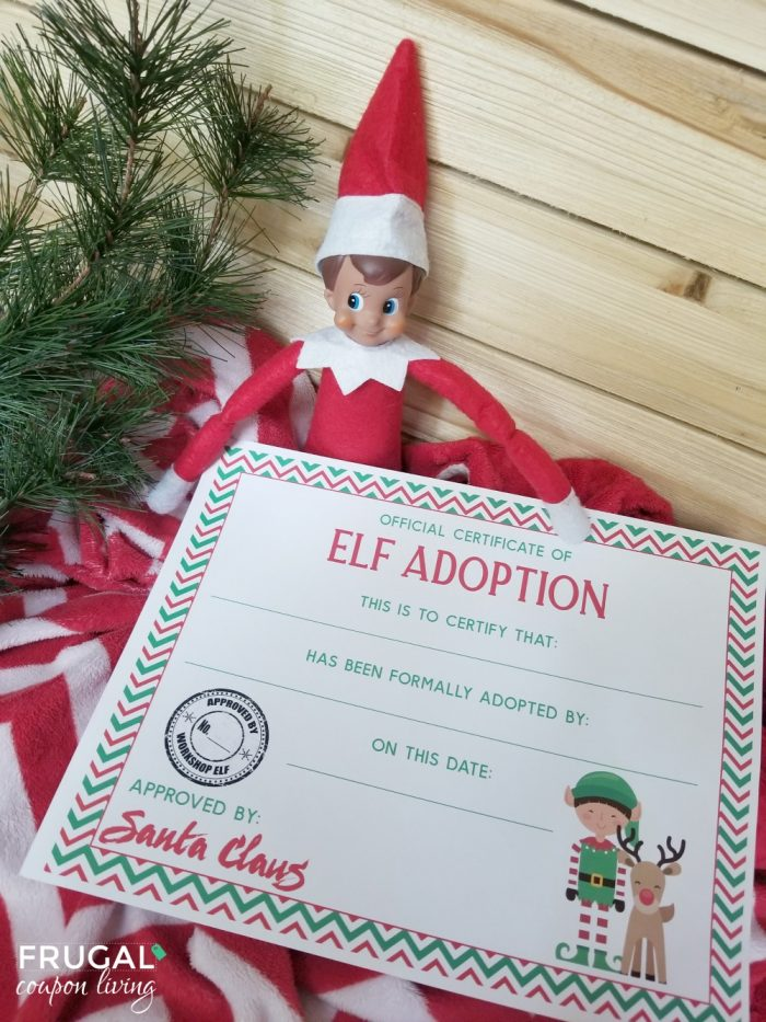 Elf on the Shelf Elf Adoption Certificate