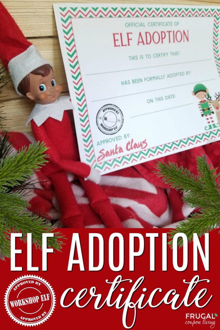 Official Certificate of Elf Adoption Printable