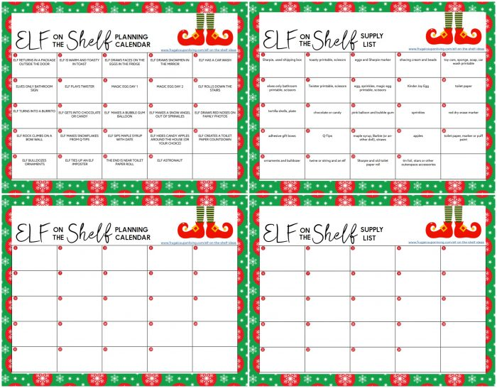 Elf on the Shelf Printable Calendar of Ideas