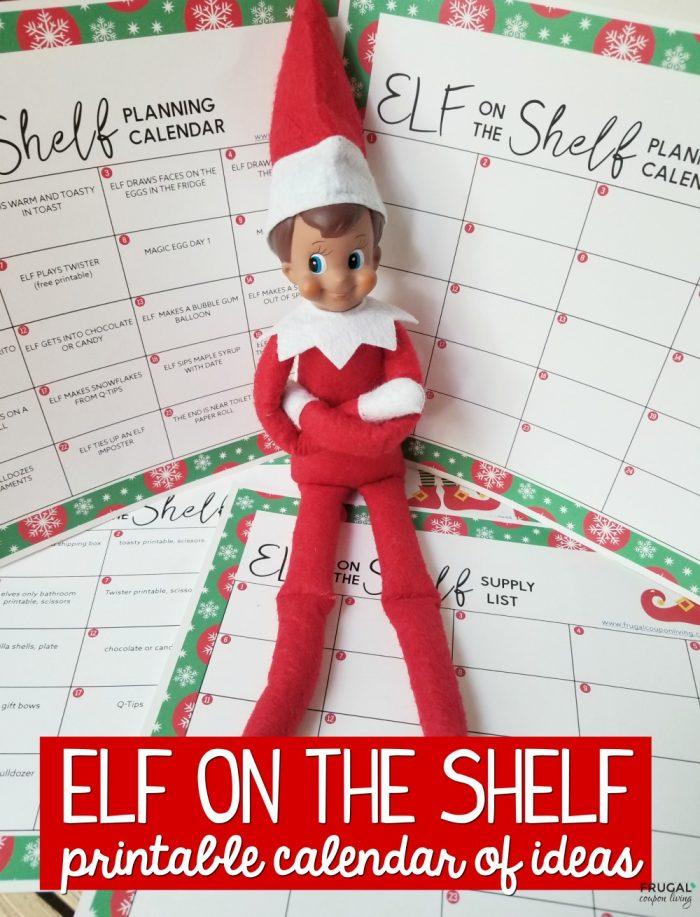 Elf on the Shelf Ideas Calendar Template and Supply List Printable