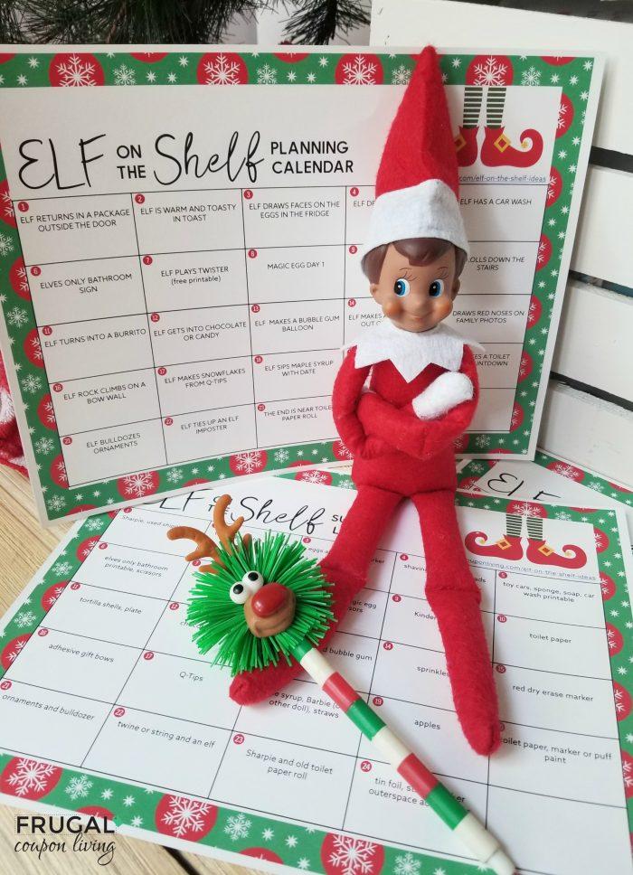 Elf on the Shelf Ideas Calendar and Supply List