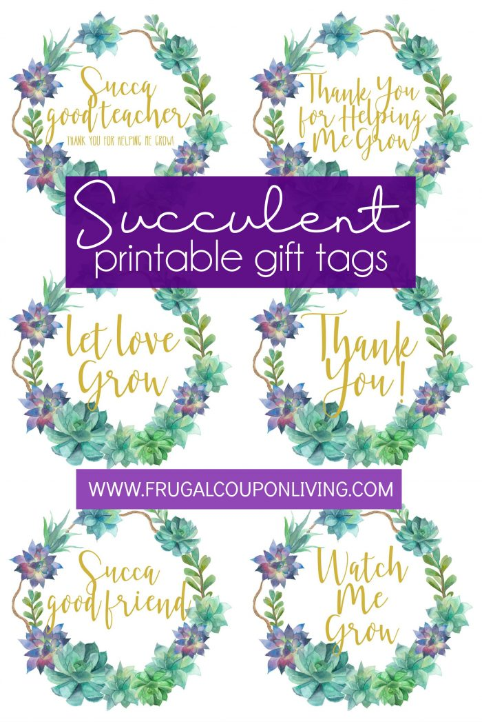printable succulent gift tags