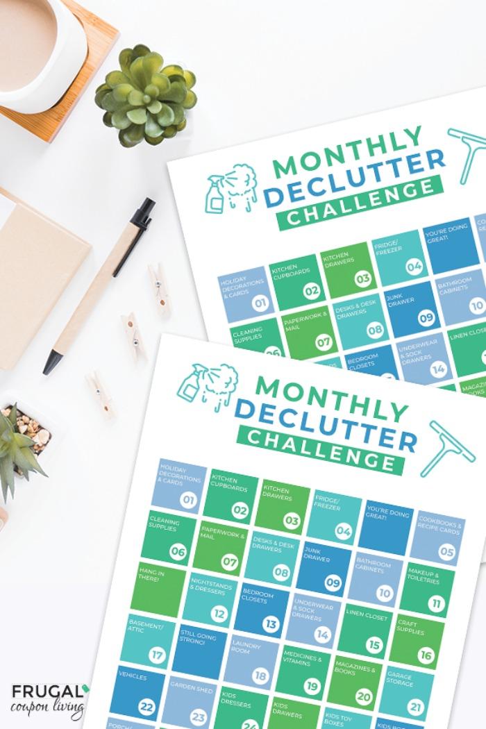 Home Organization Monthly Declutter Checklist