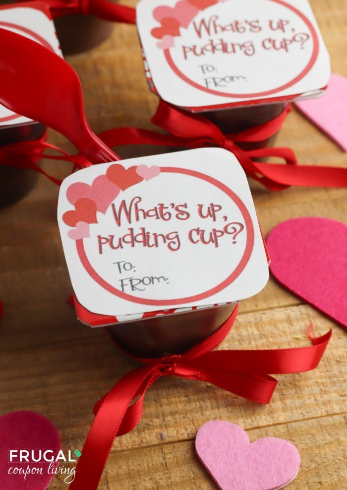 What's Up Pudding Cup Valentine for Kids