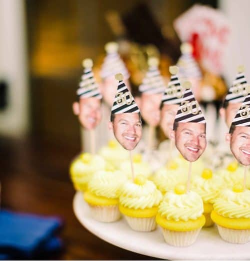 photograph on yellow cupcakes