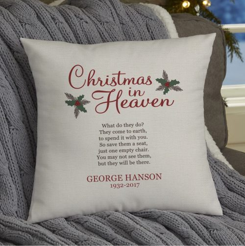 christmas in heaven memorial pillow