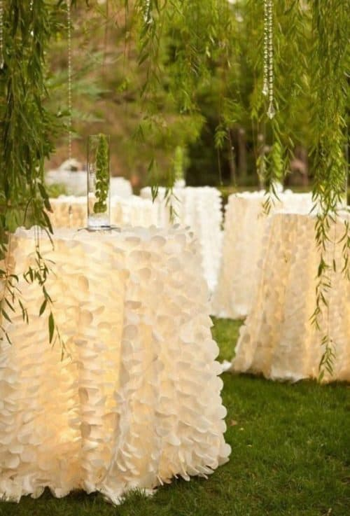 white Party flamingo petal tablecloths