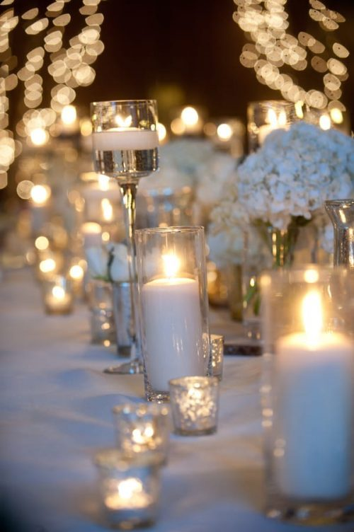 White Floating Candles Tablescape