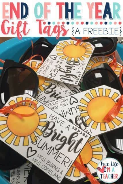 Have a Bright Summer Sunglasses student gift tag