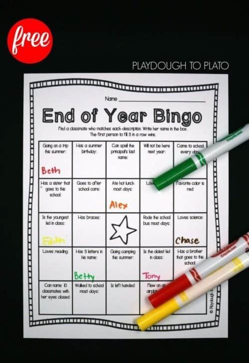 End of the Year School Bingo Game