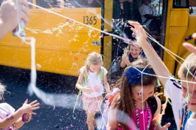 Silly String Last Day of School Bus Idea