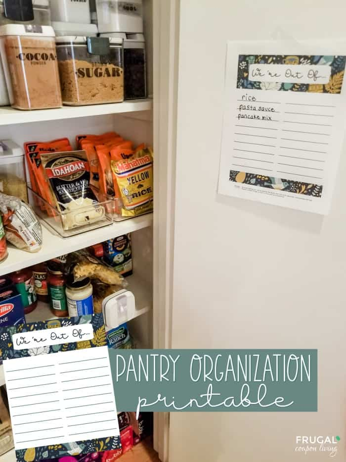 Pantry Door Organization Kitchen Printable