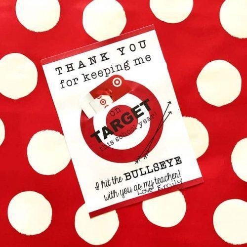 Teacher Gift Ideas Target Gift Card Printable