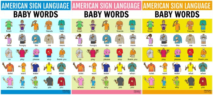Baby ASL Sign Language Chart Printable