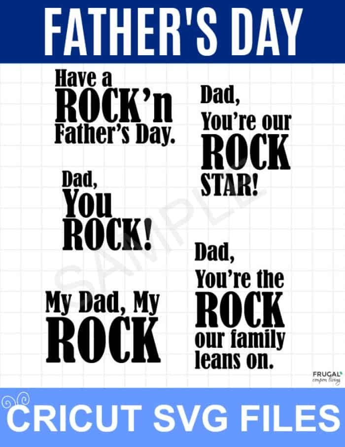 Father's Day SVG File for Rock Picture Frame Gift