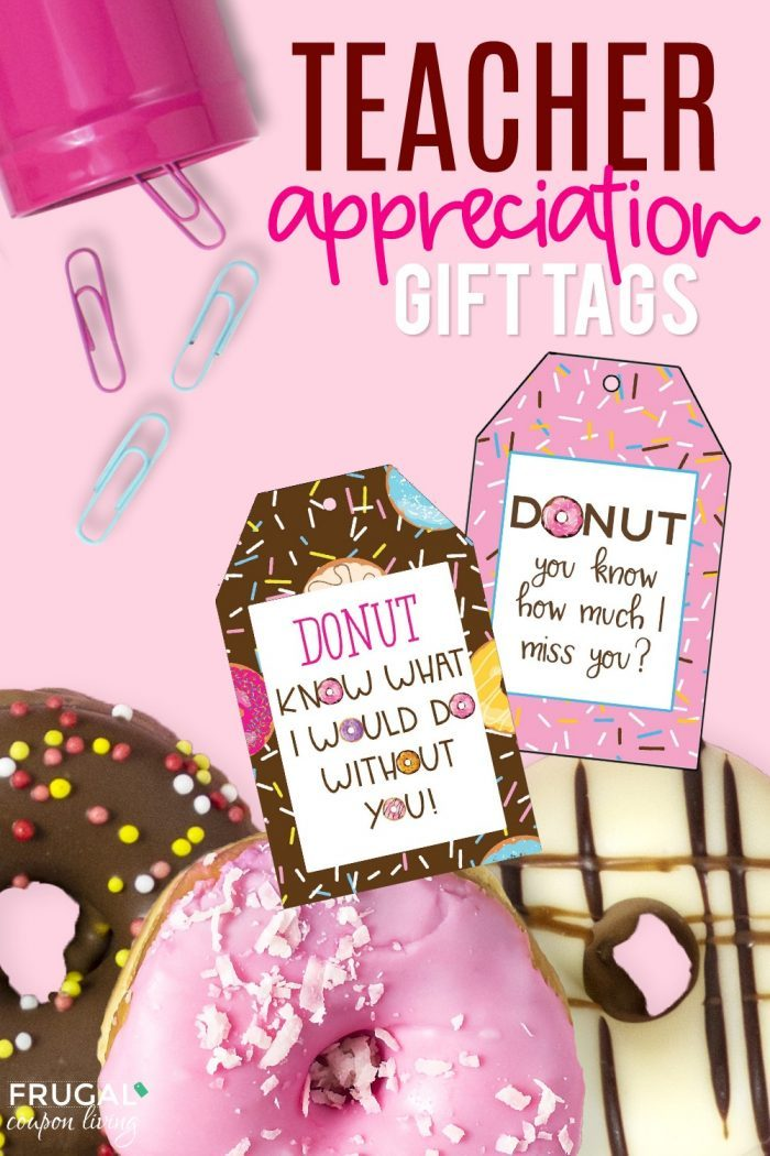 Donut Teacher Appreciation Gift Tags and End of the Year Gift Ideas