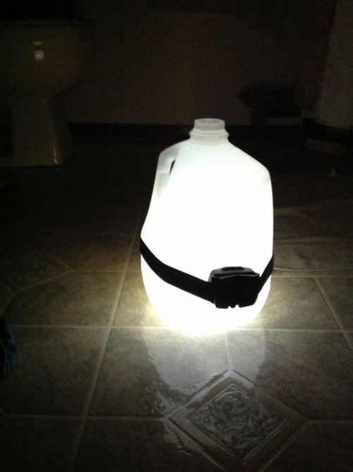 Camping Light Hack with Water Jug
