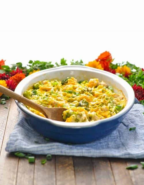 Dump and Bake Chicken Broccoli Rice Casserole