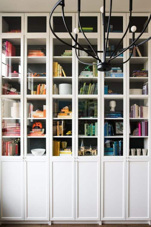 Billy bookcase with glass doors and cheat sheet and stacking formula