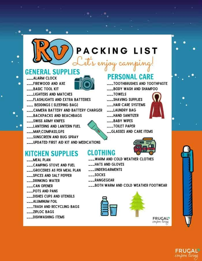 RV Packing List Printable