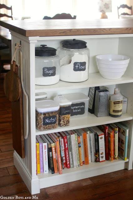 IKEA Billy Bookcase Kitchen Island with IKEA Butcher Block