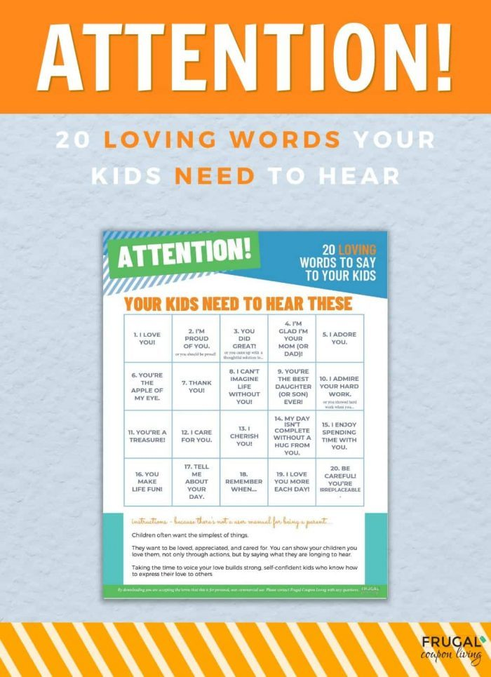 Loving words of affirmation for Children