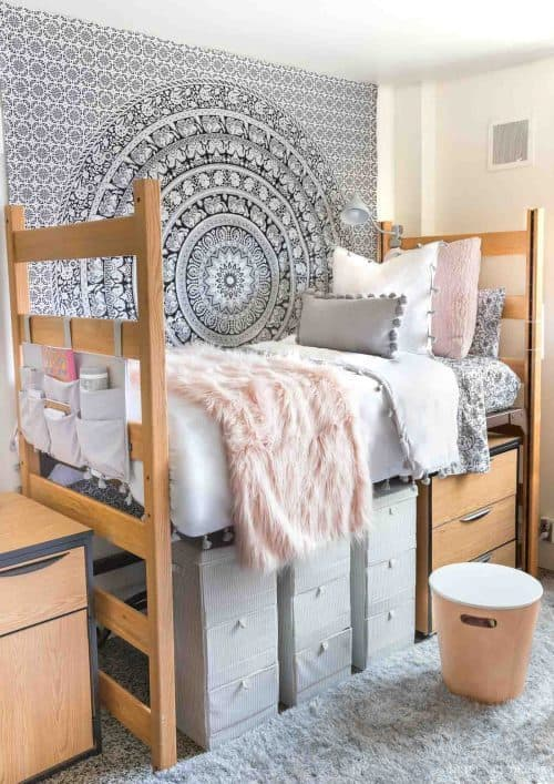 Dorm Room Storage and Hanging Wall Tapestry | College Dorm Decor Ideas