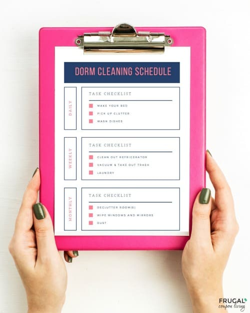 Dorm Room Cleaning Checklist