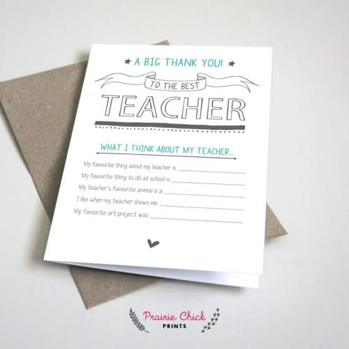 fill in the blank teacher thank you note