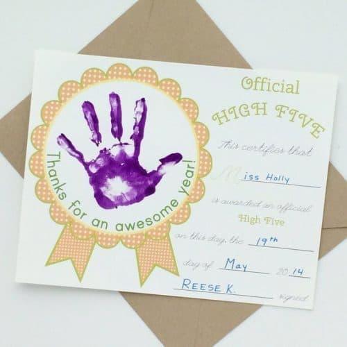 hand print art certificate for teachers