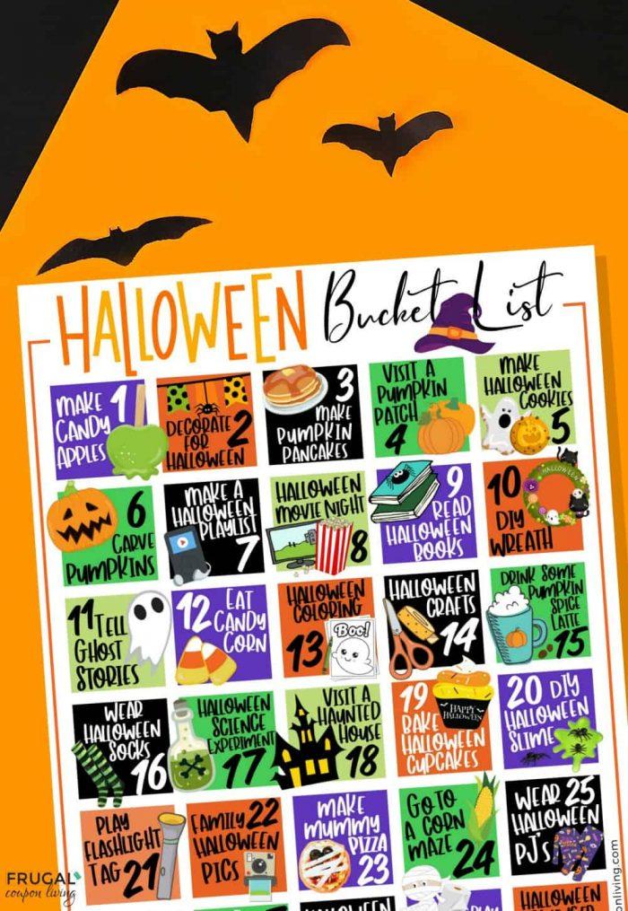 Family Bucket List For Halloween Bucket List Printable Pdf For October