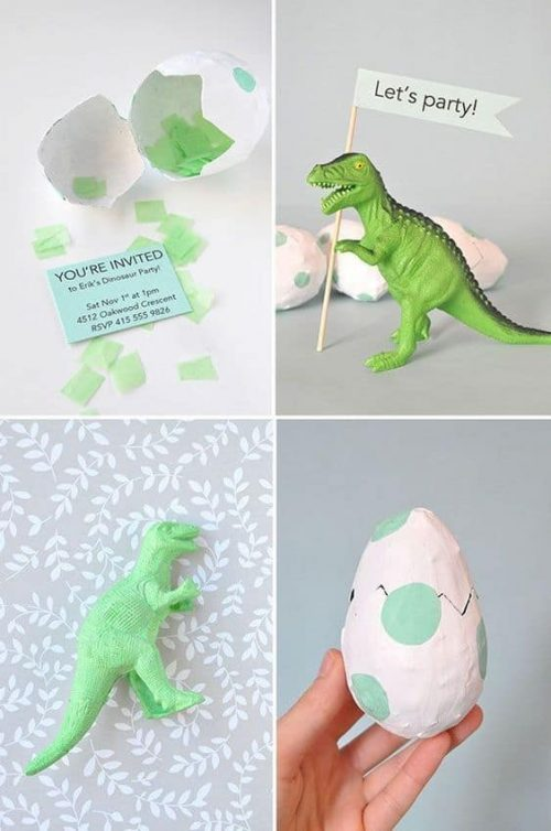 DIY Paper Mache Egg Dinosaur Party Invitations