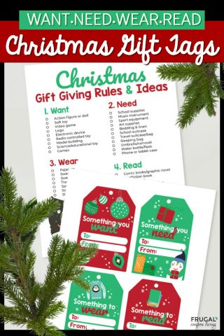 Need Want Wear Read Christmas Gift Tags
