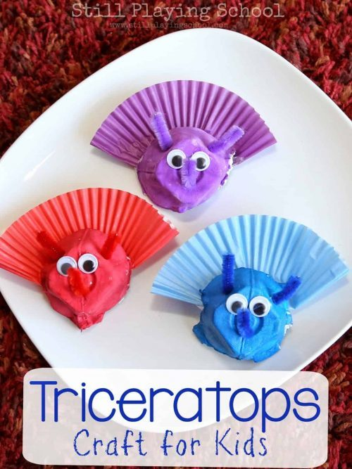 Dinosaur Birthday Party Craft - Triceratops Craft for Kids