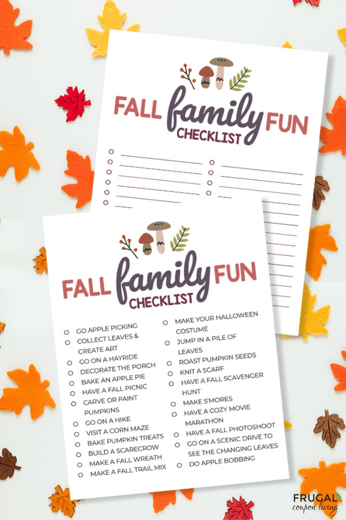 Family Fun Fall Bucket List Printable