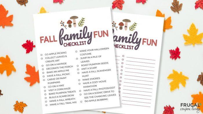 Fall Bucket List Ideas Printable PDF