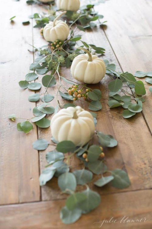 Pumpkin eucalyptus garland table runner for Thanksgiving