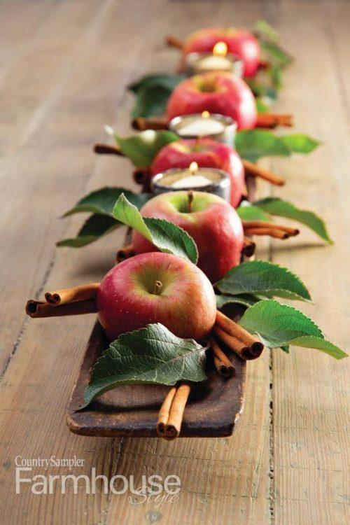 Apple & Cinnamon Stick Thanksgiving Table Centerpiece
