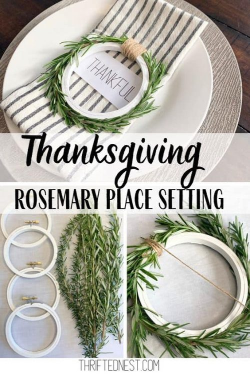 Thanksgiving Rosemary Place Settings & Table Ideas