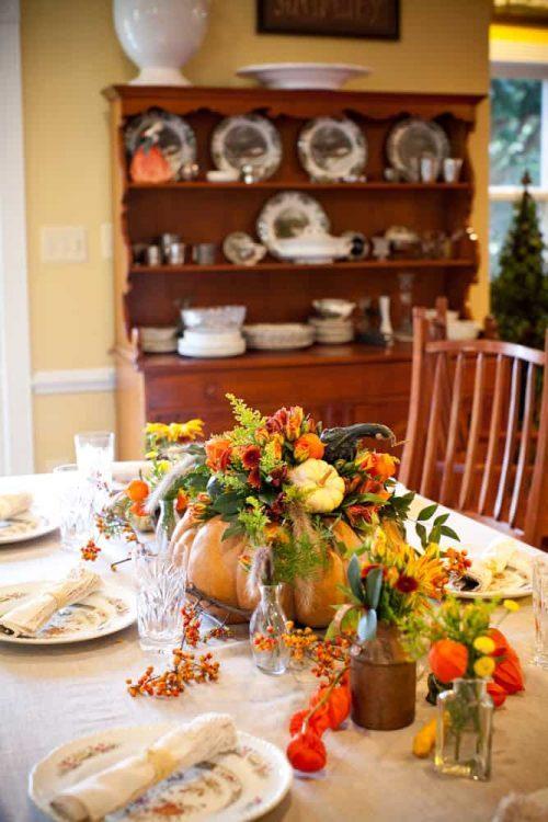 Thanksgiving Pumpkin Flower Arrangement Centerpiece