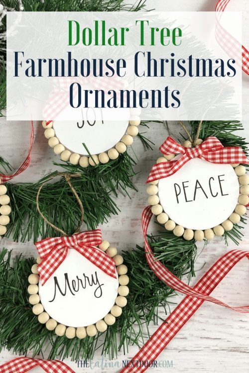DIY Farmhouse Christmas Ornament using Dollar Tree Crafts