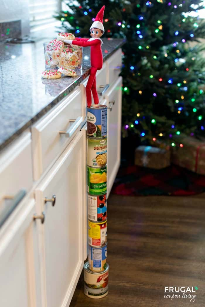 Elf on the Shelf Climbed Into the Cookie Jar - How to Make Elf on the Shelf Climb Using Canned Goods
